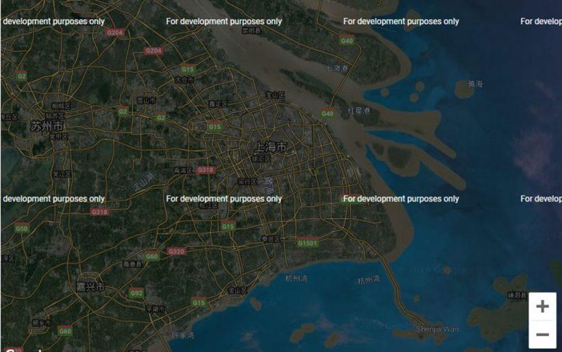 卫星地图上看上海和三亚